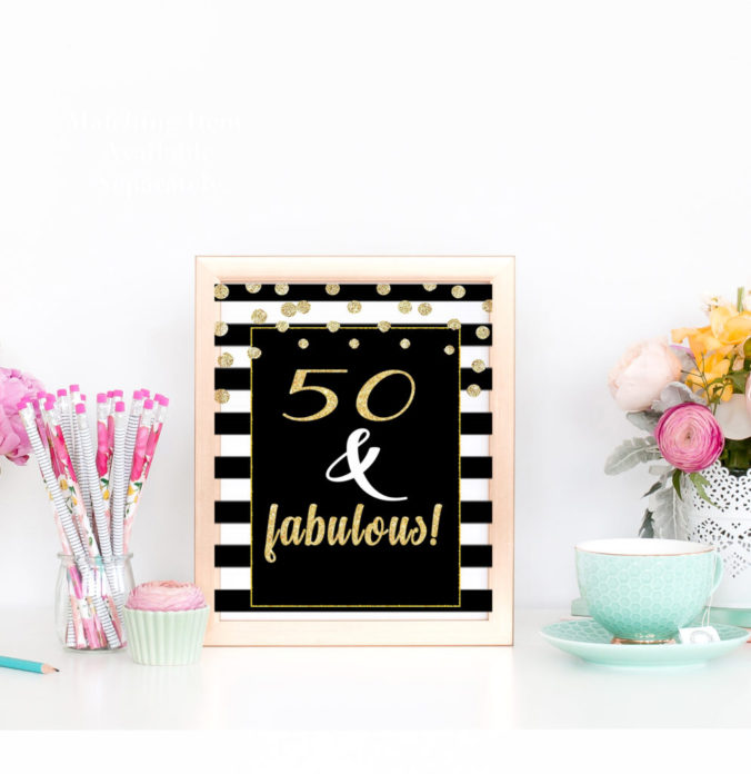 50th And Fab: Black & Gold 50th Birthday Party Decorations