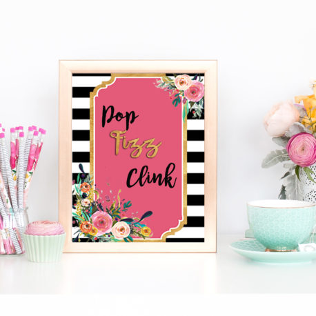 floral printables for a baby girl baby shower this pretty pink and black sign is pink bridal shower printables