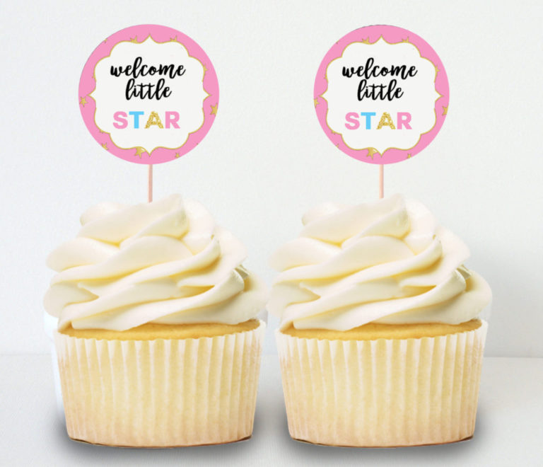 Twinkle Little Star Girl Baby Shower Printable Cupcake Toppers Vcdiy