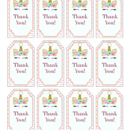Unicorn Baby Shower Theme For A Girl Thank You Tags Vcdiy