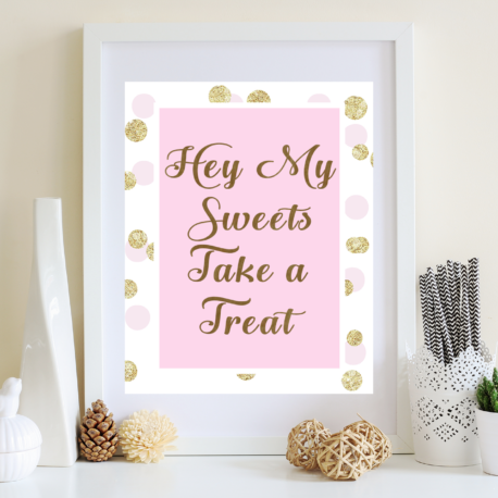 Pink And Gold Baby Shower Decorations Printable Diy Favors Sign For