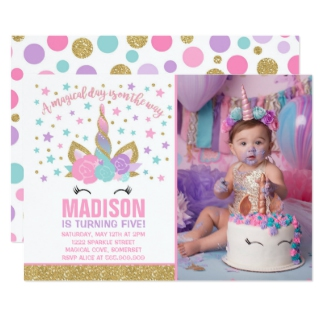 Unicorn Party Invitation For A Girls First Birthday Or Any Milestone
