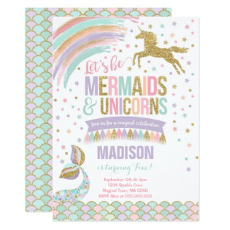 Mermaids And Unicorns Birthday Party Invitation For Girls Combine An Under The Sea Magical