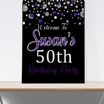 50 And Fabulous Party Decorations Purple Glitter Welcome Sign