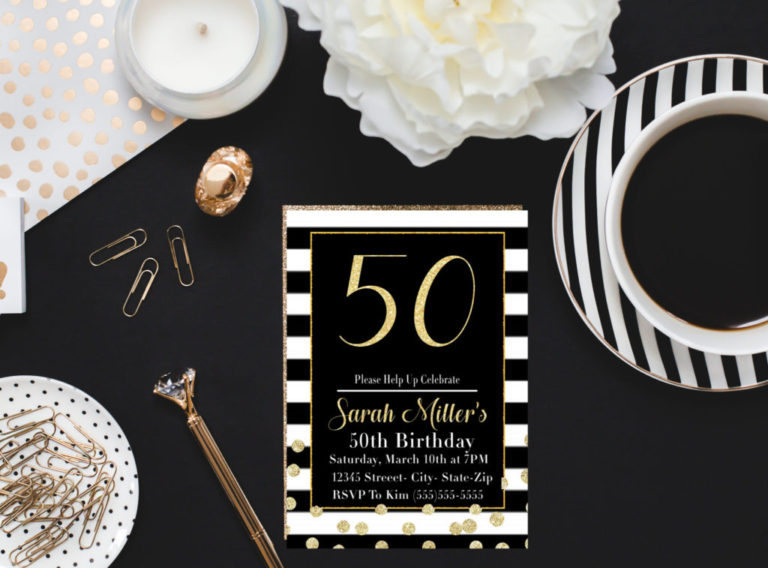 50 Birthday Party Invitation Printable In Black And White