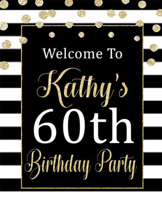 60th Birthday Party Decorations Printable Black And White Welcome Sign