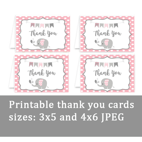Elephant Baby Shower Printables Baby Girl Thank You Cards Vcdiy