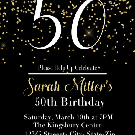 printable 50th birthday party invitation in black and gold vcdiy