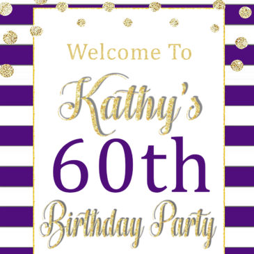 60th Birthday Party Decorations Printable Purple Welcome Sign