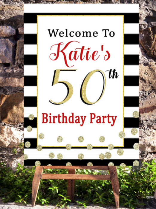 50th Birthday Party Decorations In Black White And Red Printable Adult