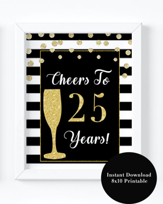 25th Birthday Party Decorations Printable Sign For Women