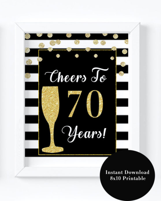 70th Birthday Party Decorations Printable Black And Gold Decor For Women Turning Seventy