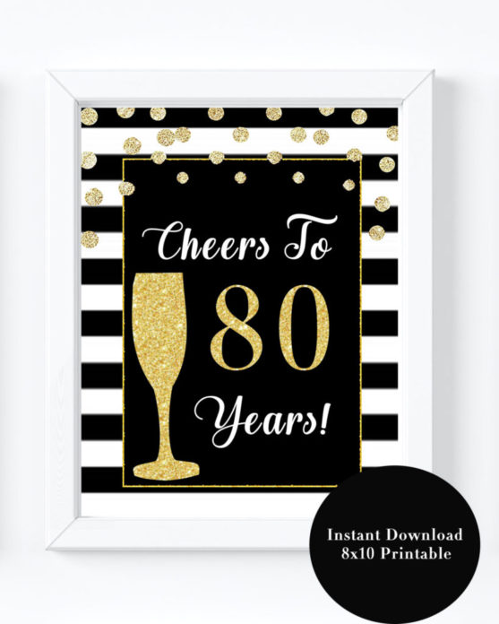 80th Birthday Party Decorations Printable Black And Gold Sign
