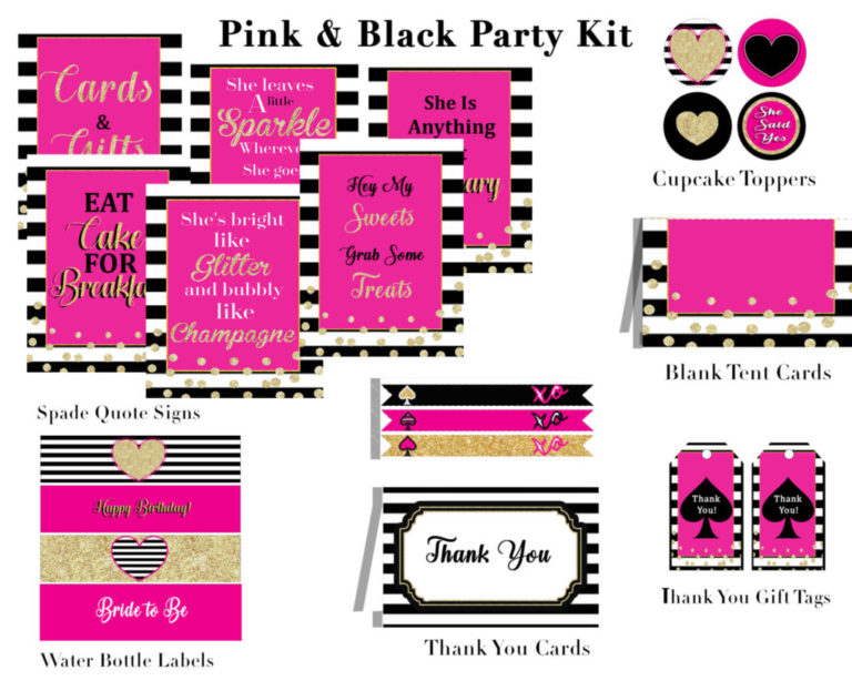 pink and black bridal shower theme these printable pretty pink bridal shower printables are perfect