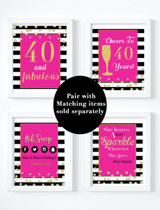 Pink 40th Birthday Party Decorations Matching