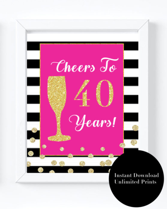 Pink And Black 40th Birthday Party Decorations For A Forty Fabulous