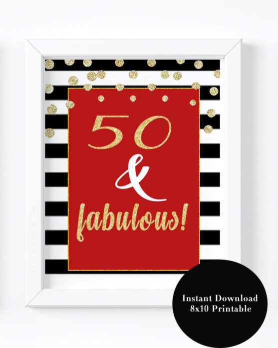 50 And Fabulous 50th Birthday Party Decorations For Women Turning Printable Adult