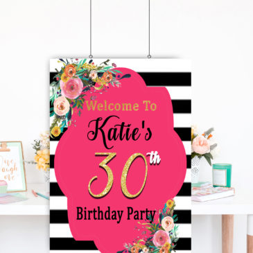 30th Birthday Party Decorations For Women DIY Printable Floral Sign