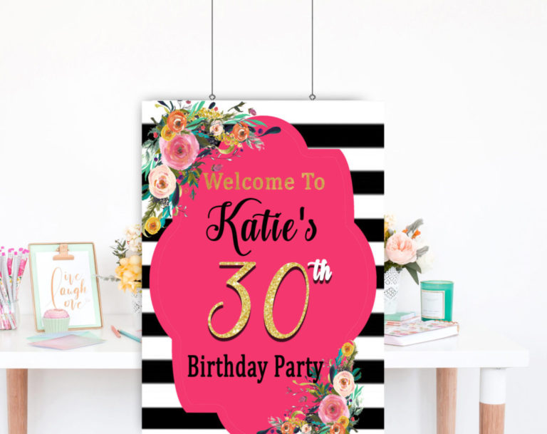 30th Birthday Party Decorations For Her DIY Welcome Sign
