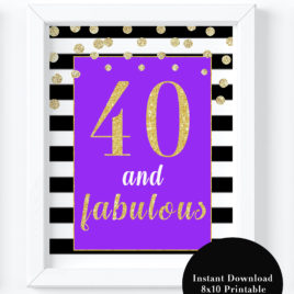 40th Birthday Party Decorations Forty And Fabulous Sign Purple