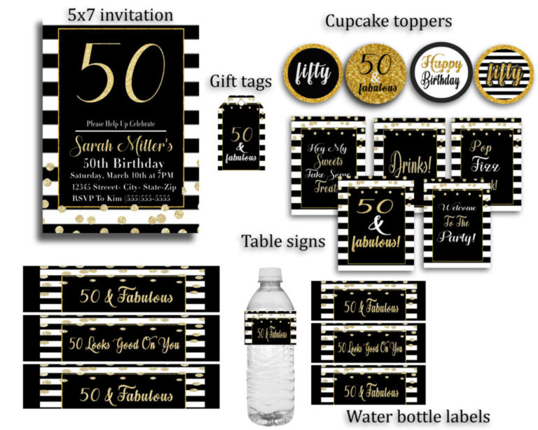 50th Birthday Party Decorations Black And White Ideas For Adults
