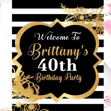 40th Birthday Party Decorations For Women Black And White Welcome Sign