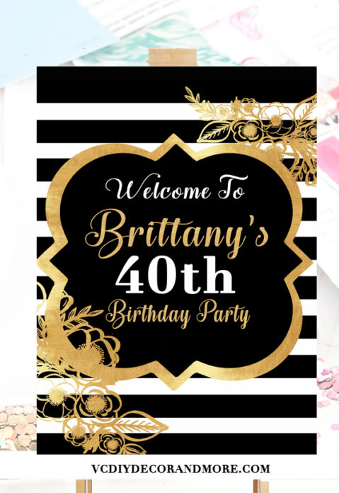Black And White 40th Birthday Party Decorations For Women Turning 50 Gold
