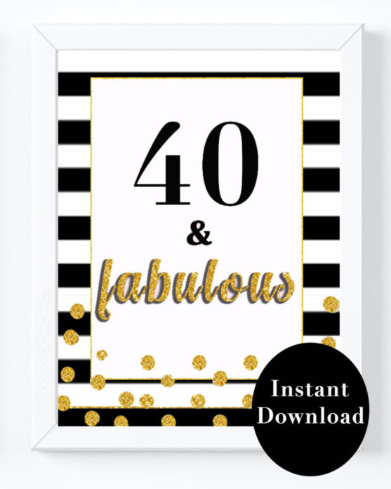 Black And White 40th Birthday Party Decorations For Women