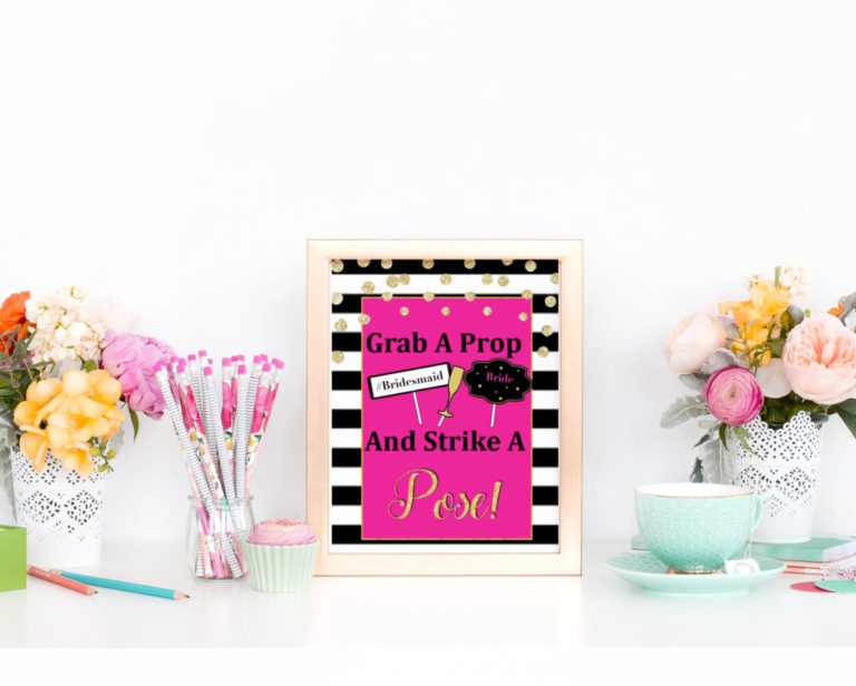 Pink Bridal Shower Printable Photo Booth Sign Vcdiy
