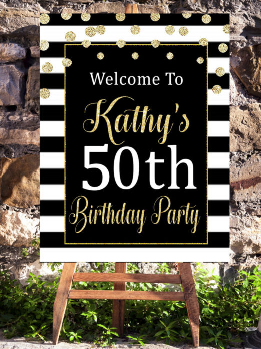 50 And Fabulous Party Decorations Welcome Sign