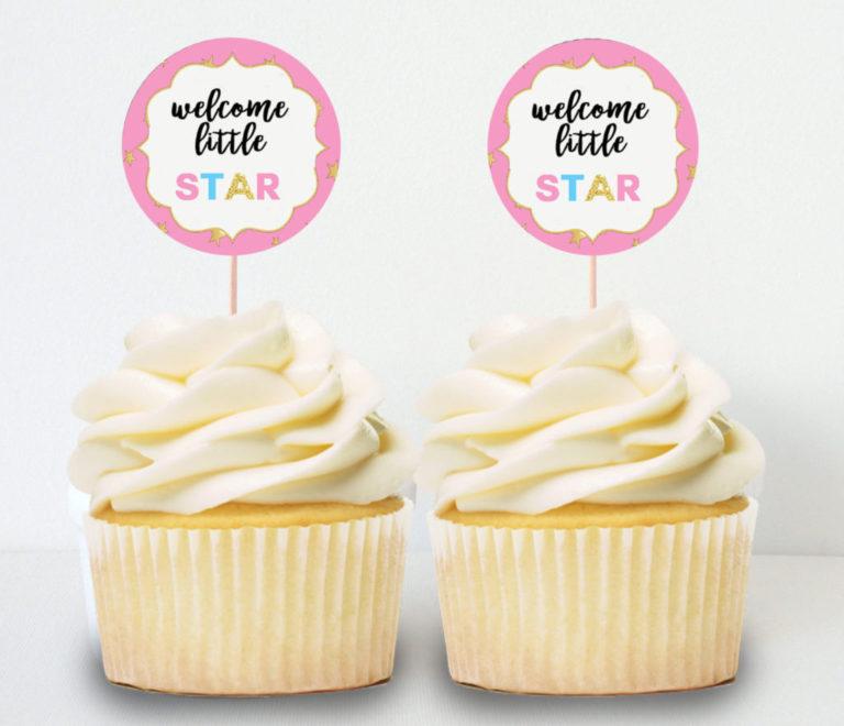 Girl Baby Shower Ideas Twinkle Little Star Printable Cupcake