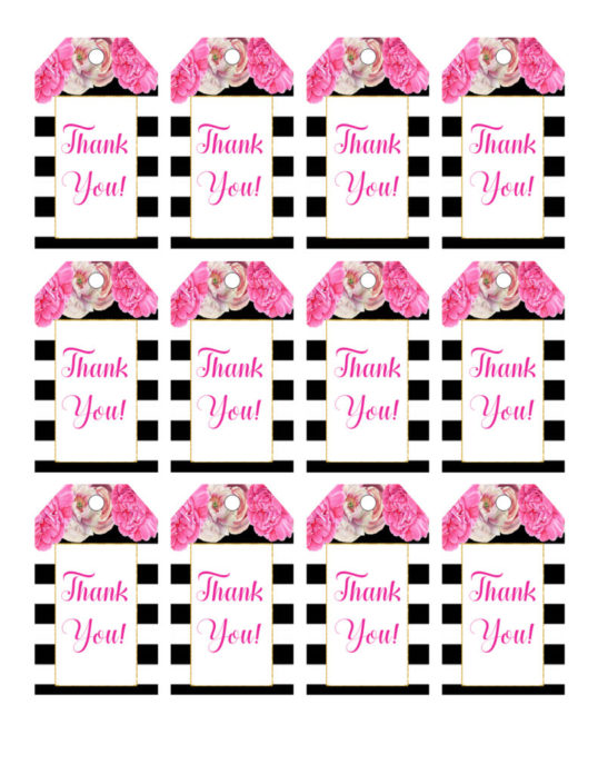 image about Printable Birthday Tags identify Floral Want Tags- Black and White Striped Bridal Shower Printables