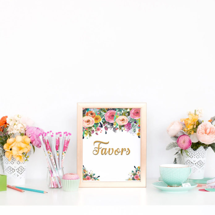 Printable Bridal Shower Favors Sign Floral Bridal Shower Ideas