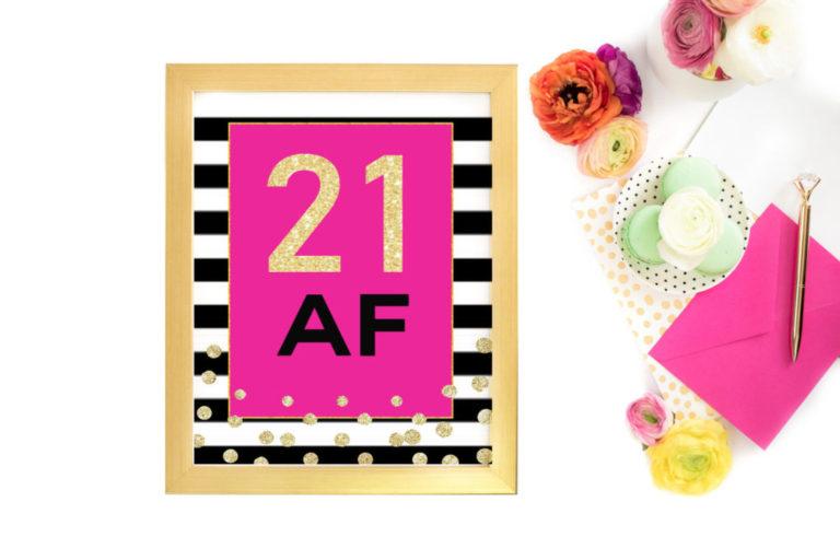 image regarding Printable Birthday Decorations identify 21st Birthday Occasion Decorations For Ladies Turning 21-Printable Signal