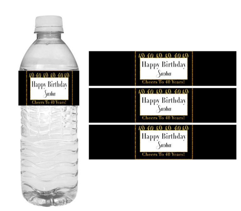 picture about Printable Water Bottle Labels Free referred to as 40th Birthday Occasion Decorations- Do it yourself Printable Drinking water Bottle Labels