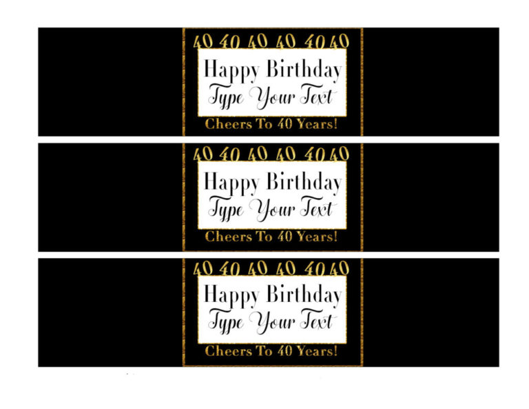 graphic relating to Printable Water Bottle Labels identified as 40th Birthday Occasion Decorations- Do-it-yourself Printable H2o Bottle Labels