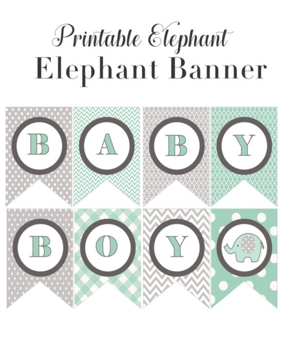 image about Banner Printable identified as Kid Boy Shower Concept- Elephant Banner Printable