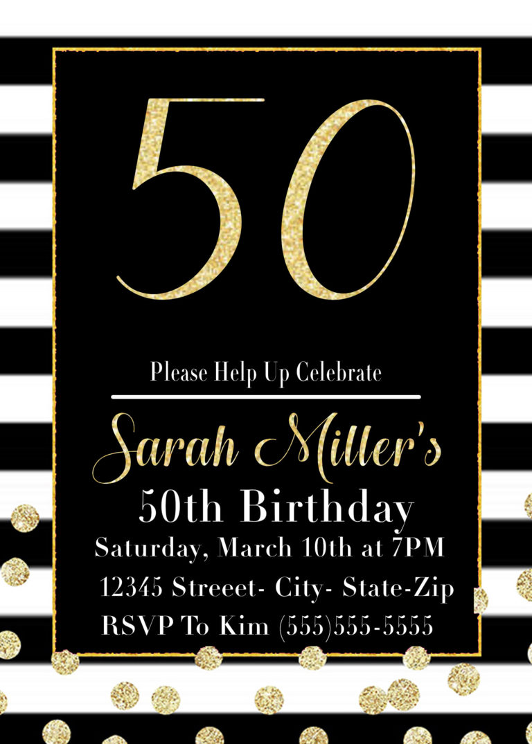 50th Birthday Party Invitation Printable in Black and Gold - VCDiy Decor  And More