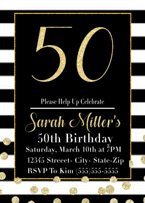 Black And Gold 50th Birthday Party Invitation Printable