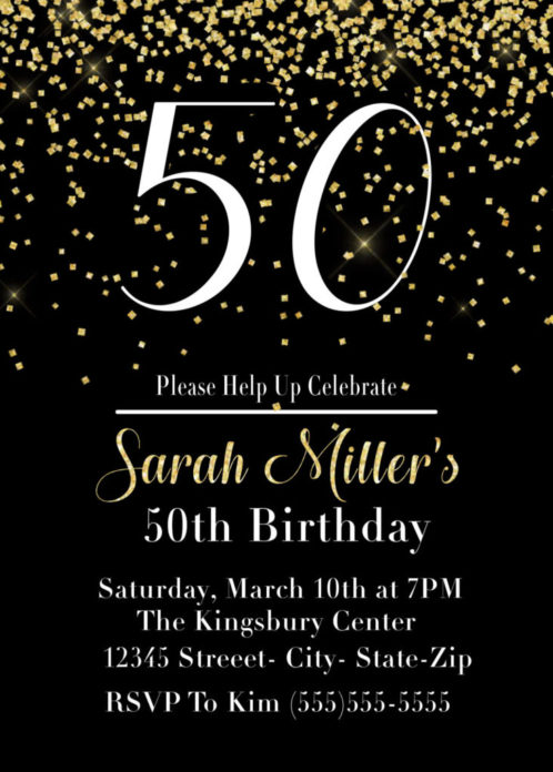 printable 50th birthday party invitation in black and gold