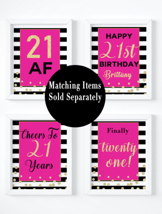 image relating to Printable Signs referred to as 21st Birthday Occasion Decorations For Females Turning 21-Printable Signal