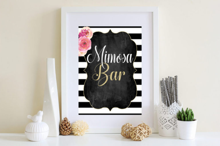 picture regarding Mimosa Bar Sign Printable called Mimosa Bar Signal Printable- Black and White Bridal Shower Indicator