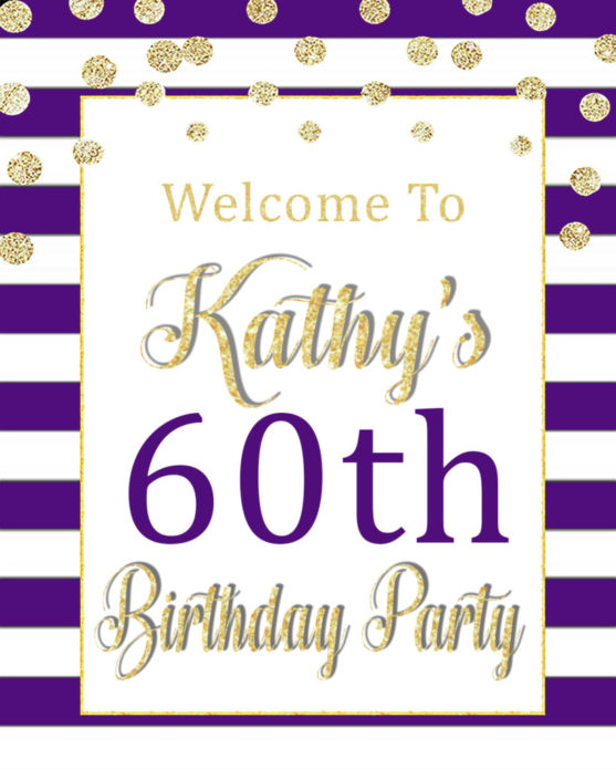 60th Birthday Party Decorations: Printable Purple Welcome Sign - VCDiy