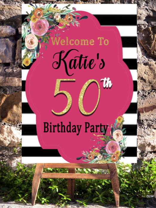 50th Birthday Party Ideas For A Woman.Pink 50th Birthday Party Decorations Welcome Sign