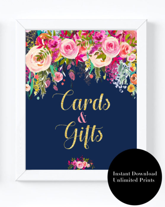 photo relating to Cards and Gifts Sign Printable identified as Military and Champagne Marriage Printable- Playing cards and Items Signal