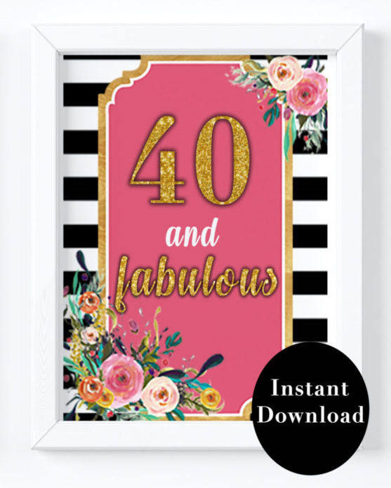 photograph regarding 40th Birthday Signs Printable referred to as 40th Birthday Celebration Decorations- 40 and Wonderful Birthday Indicator