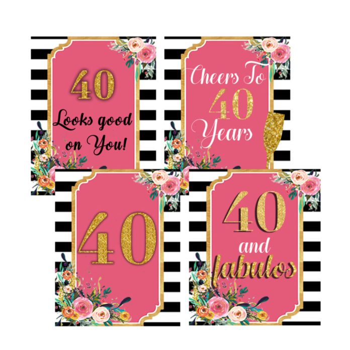 picture relating to 40th Birthday Signs Printable named 40th Birthday Get together Decorations Pack- Floral Birthday Symptoms