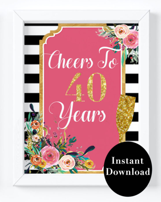 graphic about Printable 40th Birthday Card named 40th Birthday Bash Decorations- Cheers in direction of 40 Several years 40th Birthday Signal