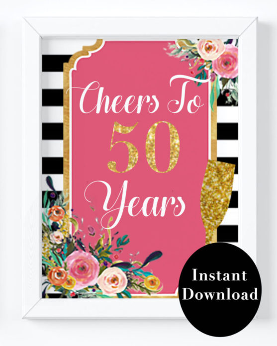 photograph about Printable Birthday Decorations named Cheers In the direction of 50 A long time - 50th Birthday Bash Decorations Options