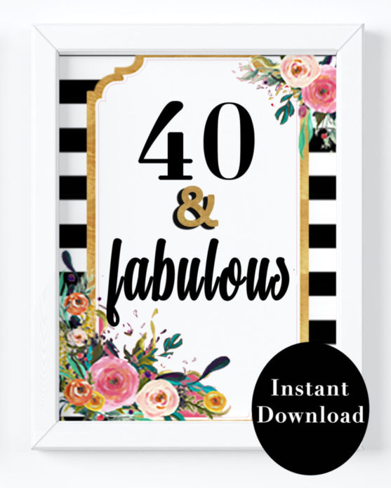 photo regarding 40th Birthday Signs Printable named 40th Birthday Get together Decorations- 40 and Magnificent Indicator, Black White Stripes